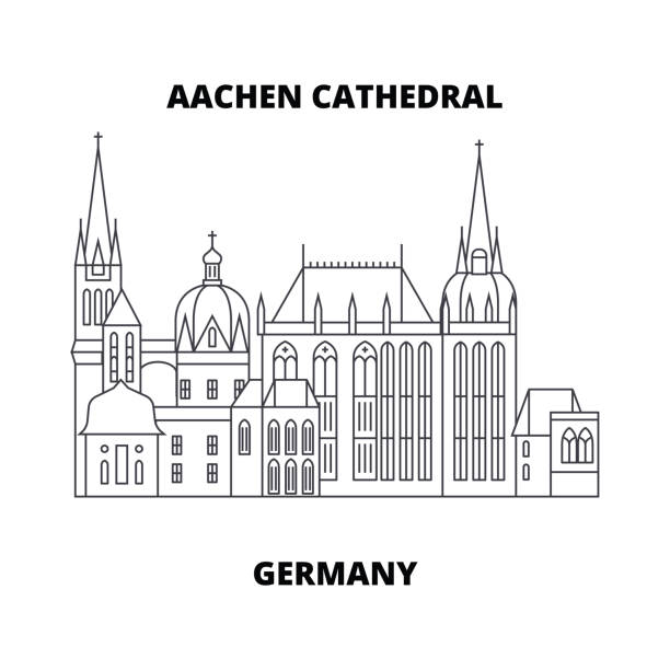 Aachen Cathedral, Germany line icon concept. Aachen Cathedral, Germany linear vector sign, symbol, illustration. Aachen Cathedral, Germany line famous landmark, vector illustration. Aachen Cathedral, Germany linear concept icon, sign. lachen stock illustrations