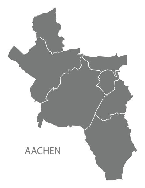Aachen city map with boroughs grey illustration silhouette shape Aachen city map with boroughs grey illustration silhouette shape lachen stock illustrations