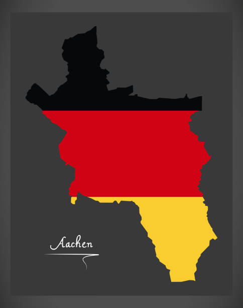Aachen map with German national flag illustration Aachen map with German national flag illustration lachen stock illustrations