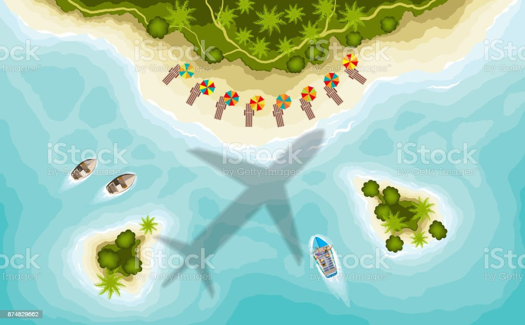 Aairplane over tropical islands, top view vector art illustration