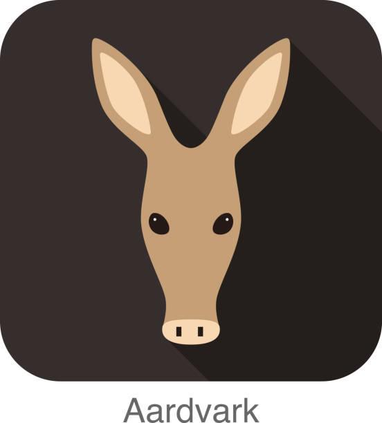 aardvark cartoon face, flat icon design - ameisenbär stock-grafiken, -clipart, -cartoons und -symbole