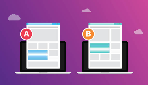 ab a b split testing concept with two business men compare test result between 2 page of website design comparison - vector illustration ab a b split testing concept with two business men compare test result between 2 page of website design comparison - vector illustration scientific experiment stock illustrations
