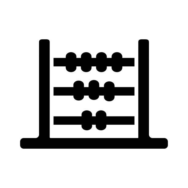 bildbanksillustrationer, clip art samt tecknat material och ikoner med abacus svart ikon, beräkna, vektorgrafik - abakus