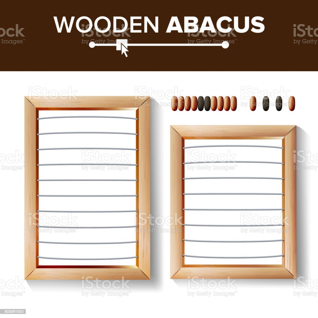 Abacus Blank. Vector Template Illustration Of Classic Wooden Abacus. Shop Arithmetic Tool Equipment. Calculating Concept. Isolated vector art illustration