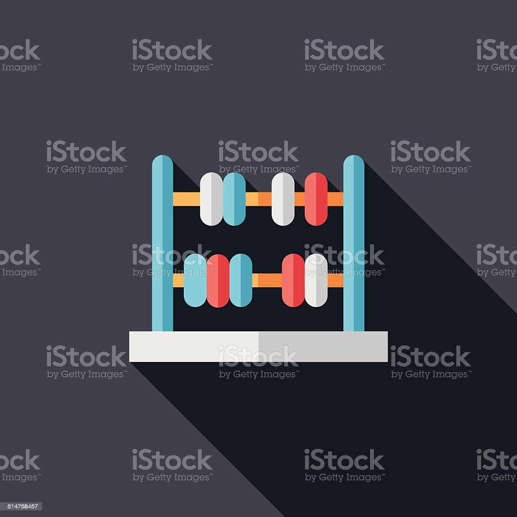 abacus calculation flat icon with long shadow vector art illustration
