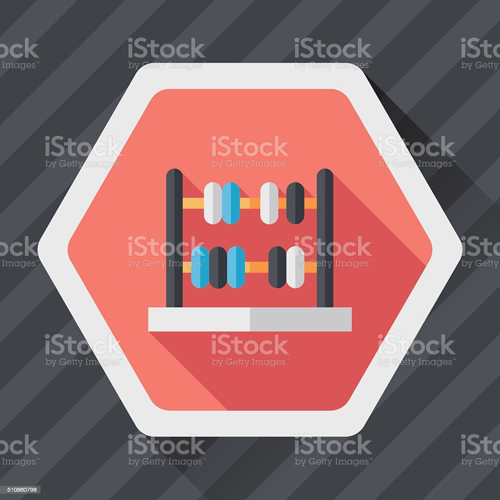 abacus calculation flat icon with long shadow,eps10 vector art illustration