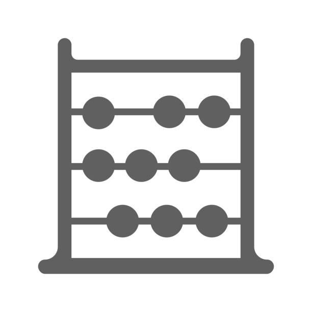 bildbanksillustrationer, clip art samt tecknat material och ikoner med abacus grå ikon, beräkna maskinvektor - abakus