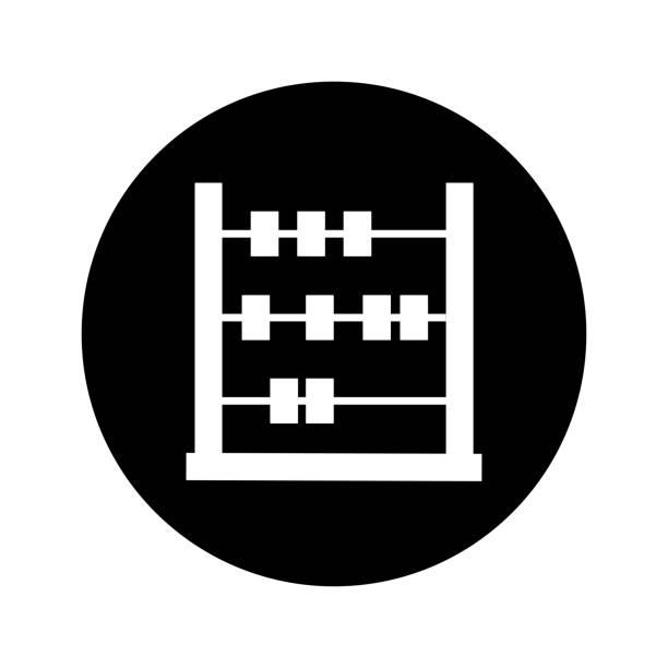 bildbanksillustrationer, clip art samt tecknat material och ikoner med abacus ikon, beräkna, matematik / svart version - abakus