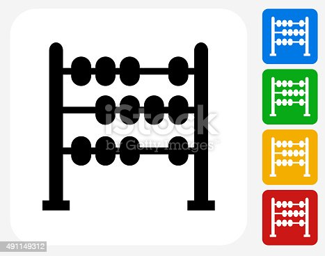 Abacus Icon. This 100% royalty free vector illustration features the main icon pictured in black inside a white square. The alternative color options in blue, green, yellow and red are on the right of the icon and are arranged in a vertical column.