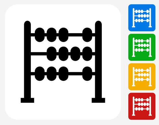 bildbanksillustrationer, clip art samt tecknat material och ikoner med abacus icon flat graphic design - abakus