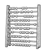 Abacus illustration, drawing, engraving, ink, line art, vector