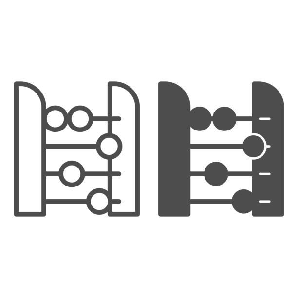 bildbanksillustrationer, clip art samt tecknat material och ikoner med abacus linje och solid ikon. redovisning och aritmetiska verktyg, retro räknare. utbildning vektor designkoncept, disposition stil piktogram på vit bakgrund. - abakus