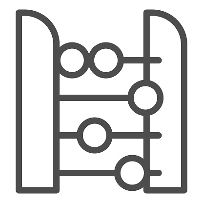 Abacus line icon. Accounting and arithmetic tool, retro counter. Education vector design concept, outline style pictogram on white background.