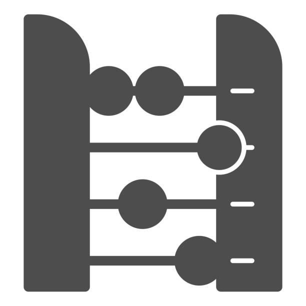 bildbanksillustrationer, clip art samt tecknat material och ikoner med abacus solid ikon. redovisning och aritmetiska verktyg, retro räknare. utbildning vektor designkoncept, glyph stil piktogram på vit bakgrund. - abakus
