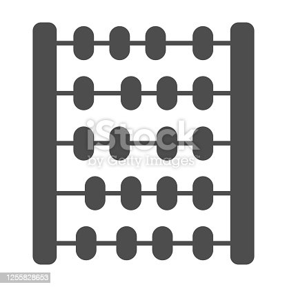 istock Abacus solid icon, education and school concept, School abacus sign on white background, Abacus wood toy icon in glyph style for mobile concept and web design. Vector graphics. 1255828653