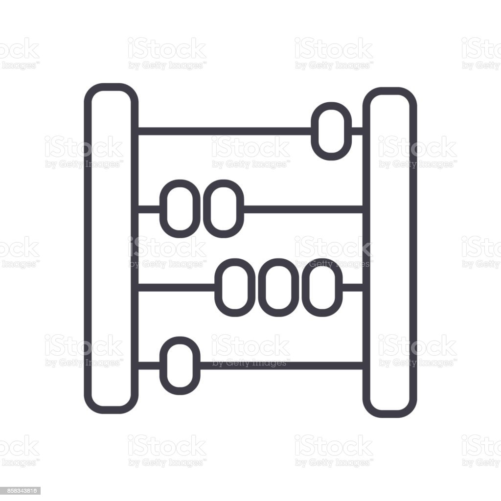 abacus,scores,counter vector line icon, sign, illustration on background, editable strokes vector art illustration