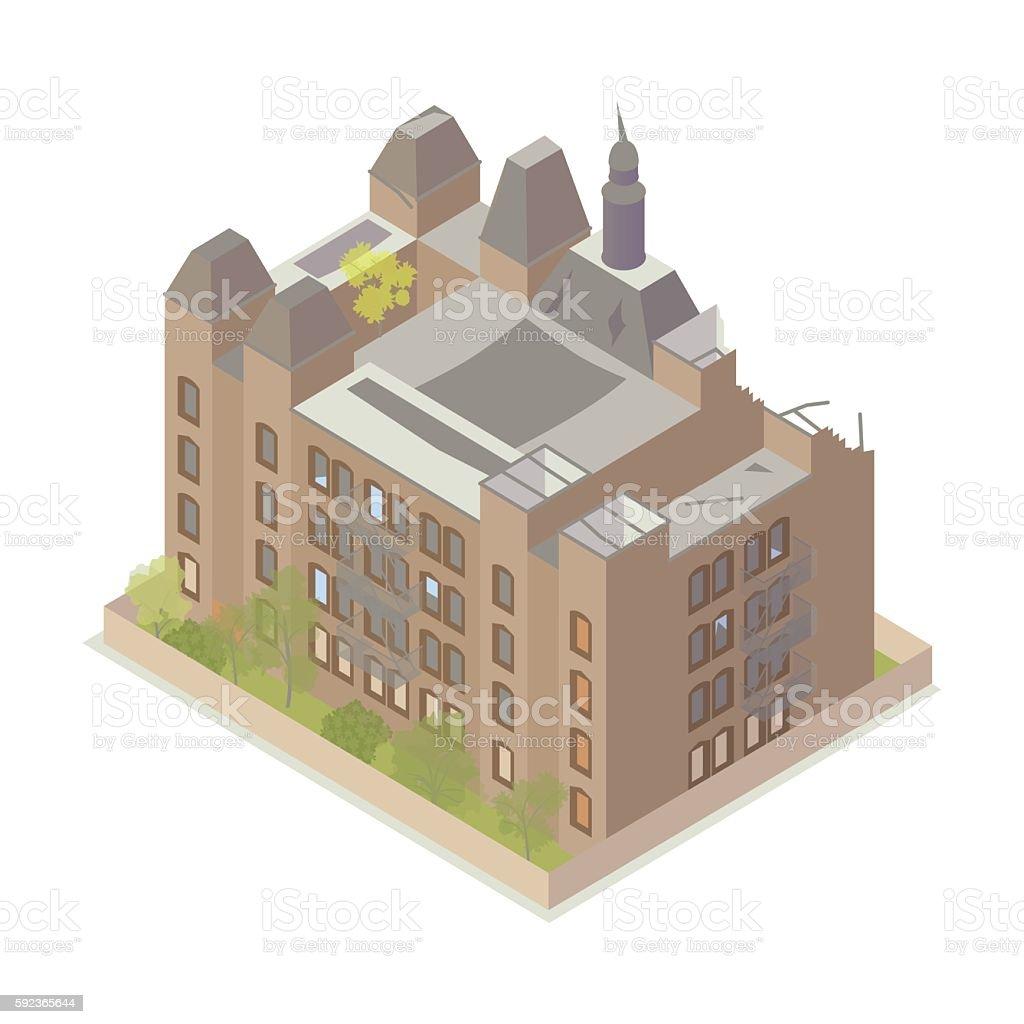 Abandoned building illustration vector art illustration
