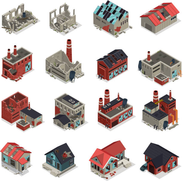 abandoned buildings isometric Abandoned buildings isometric set of crumbling old manufacturing workshops and factory ruins isolated vector illustration vandalism stock illustrations