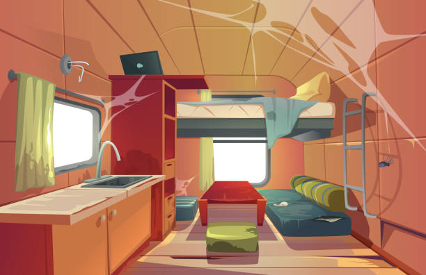 Abandoned camping trailer car interior motor home Abandoned camping trailer car interior with loft bed, ragged couch, kitchen sink, desk with laptop, bookshelf and window covered with spider web. Neglected Rv motor home. Cartoon vector illustration rv interior stock illustrations