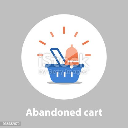 Shopping and marketing strategy, abandoned cart remainder, basket with bell, sales improvement, loyalty program, promotion offering, vector flat icon