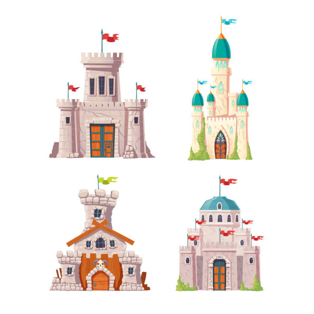 ilustrações de stock, clip art, desenhos animados e ícones de abandoned fairytale castles cartoon vector set - ivy building