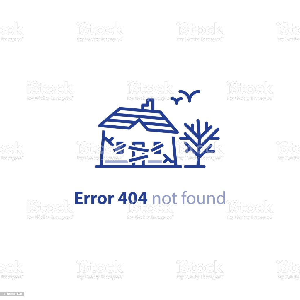 Abandoned house, spooky place, dilapidated building, error 404 page not found message vector art illustration
