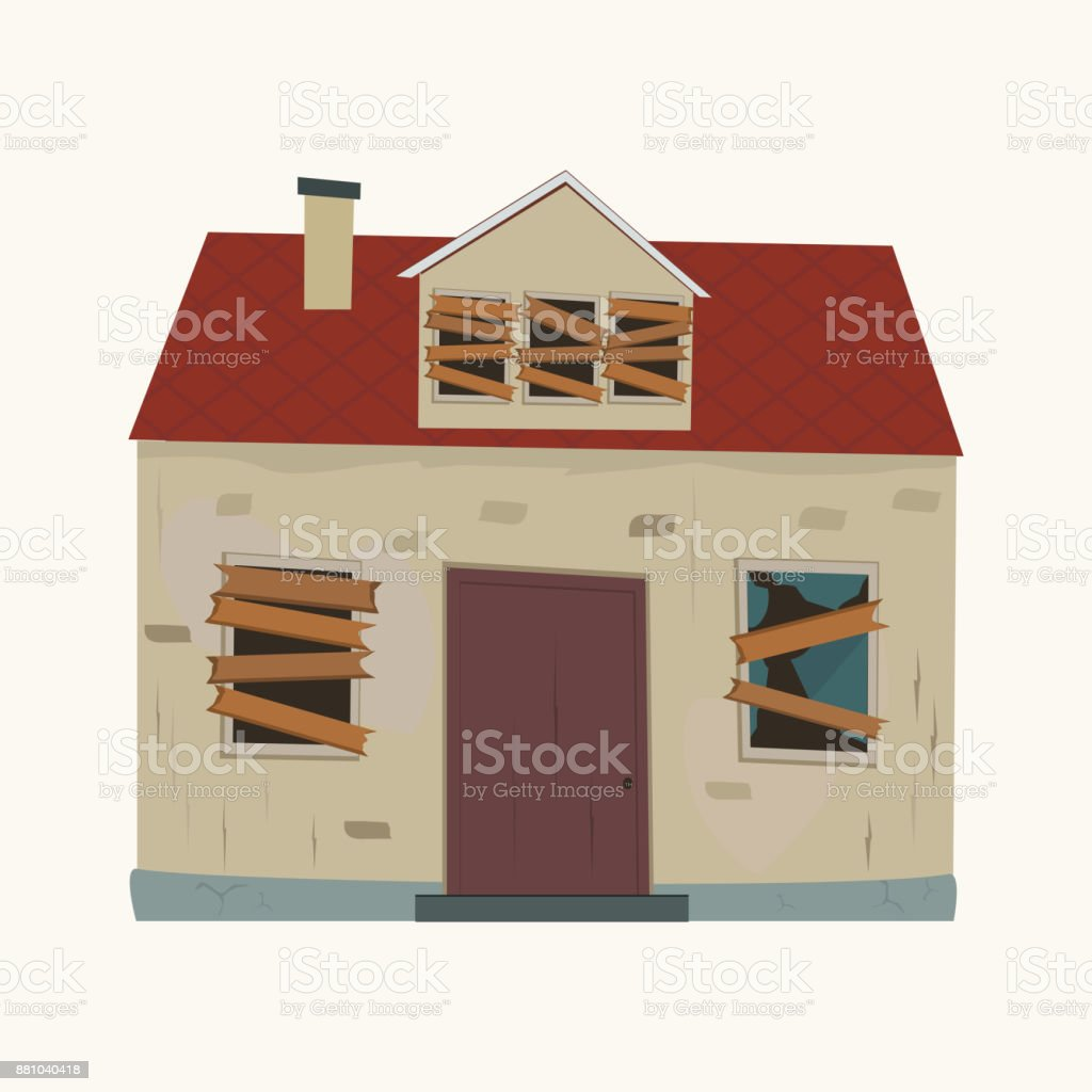 Abandoned house. vector art illustration
