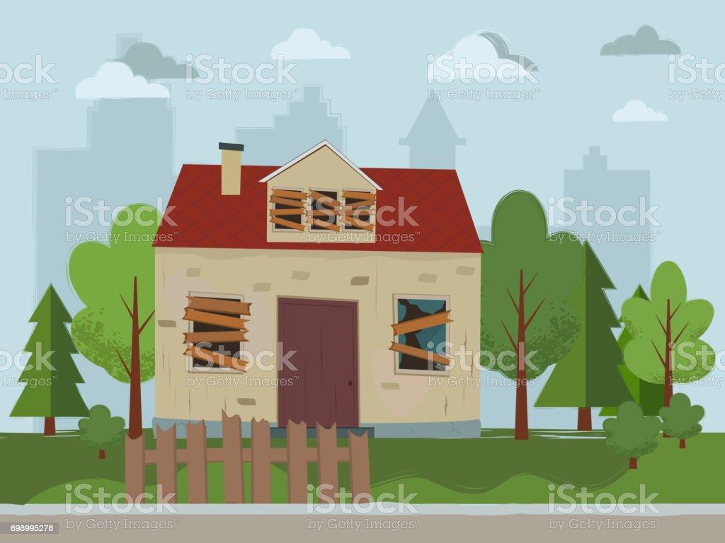 Abandoned house. vector art illustration