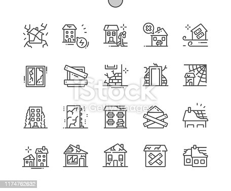 istock Abandoned houses Well-crafted Pixel Perfect Vector Thin Line Icons 30 2x Grid for Web Graphics and Apps. Simple Minimal Pictogram 1174762632