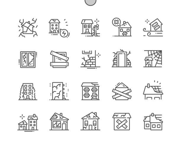 stockillustraties, clipart, cartoons en iconen met verlaten huizen goed vervaardigde pixel perfecte vector dunne lijn pictogrammen 30 2x grid voor webafbeeldingen en apps. eenvoudige minimale pictogram - slechte staat