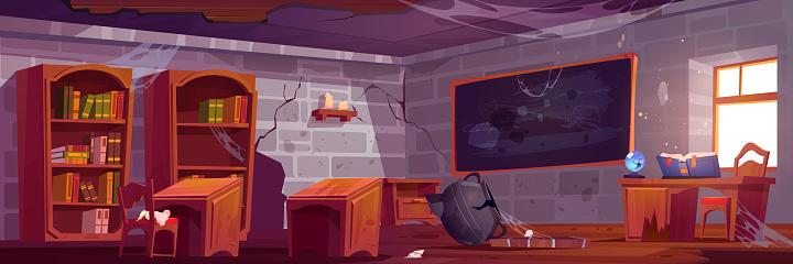 Abandoned magic school, empty classroom interior