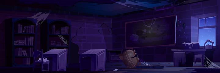 Abandoned magic school, night classroom interior