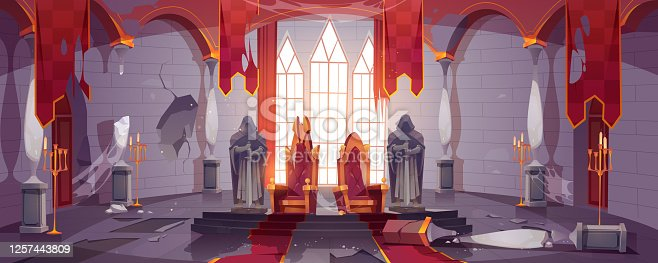 Abandoned medieval castle with gold royal thrones. Vector cartoon interior of old dirty palace with king and queen chairs, stone statues of knights, torn flags and broken columns and floor
