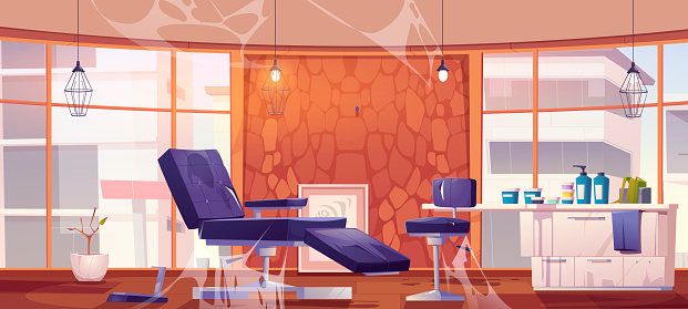 Abandoned tattoo studio or beauty salon interior