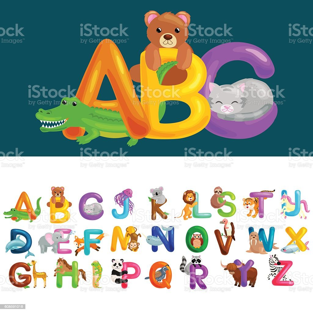 Abc animal letters for school or kindergarten children alphabet education vector art illustration