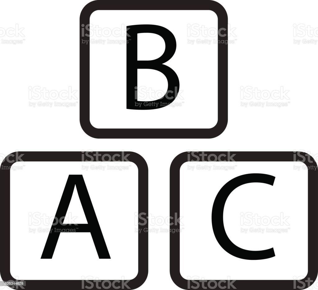 icono de bloque de ABC sobre fondo blanco. muestra de bloque de ABC. - ilustración de arte vectorial