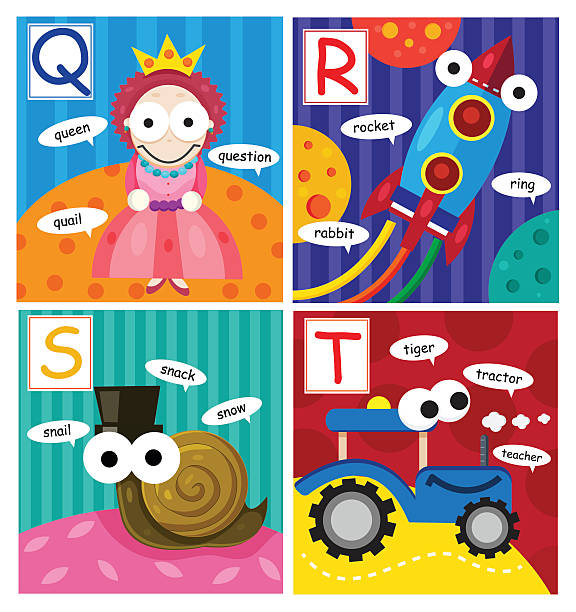 abc fancy set vector art illustration