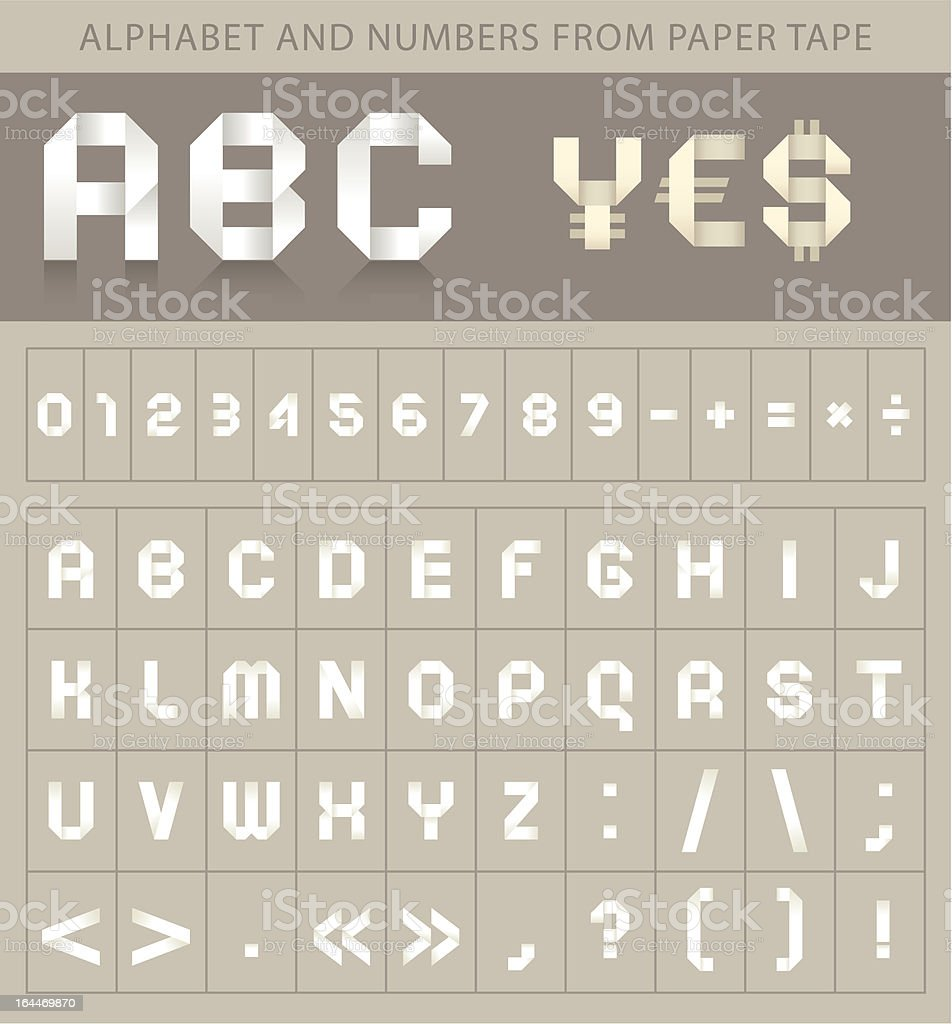 Abc font from paper tape and currency symbols royalty-free stock vector art