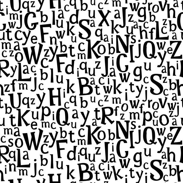 Abc or alphabet seamless pattern . Abc or alphabet seamless pattern. Hand drawn letters dark, black white hand cutted cups uppercase letters Kids Scandinavian design Vector illustration stock vector. alphabet backgrounds stock illustrations