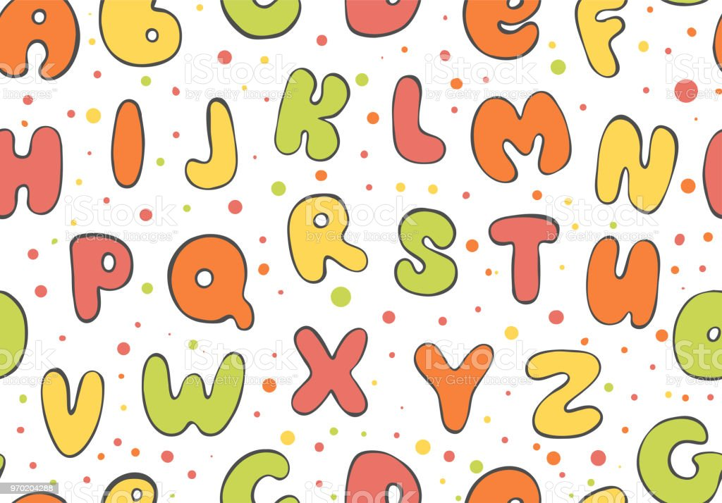 Abc Seamless Pattern Colorful Letter Background Cartoon Kids Font ...
