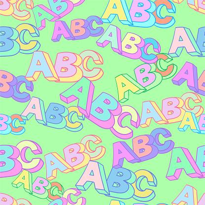 Abc symbol pattern. Kids study background.