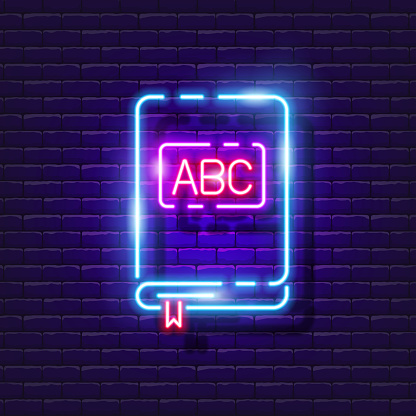 ABC-book neon sign. Study book glowing icon. Vector illustration for design. Kindergarten concept.