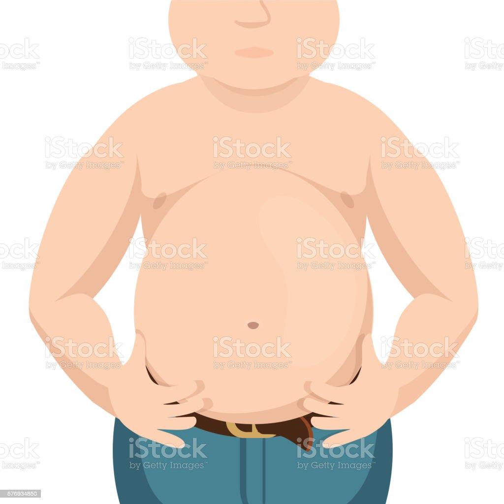 Ilustración de Abdomen Fat Overweight Man With A Big Belly Vector ...