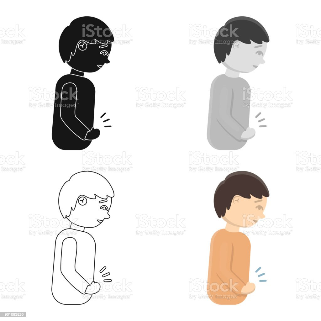 Abdominal pain icon cartoon. Single sick icon from the big ill, disease cartoon. vector art illustration