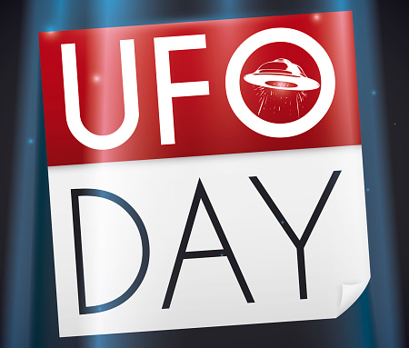 Abducted Calendar with Spaceship Draw to Commemorate UFO Day