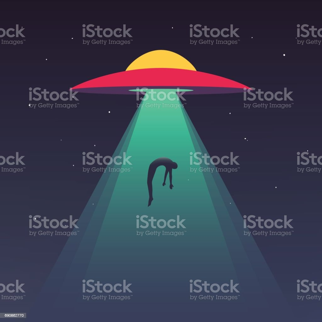 UFO abducts human vector art illustration