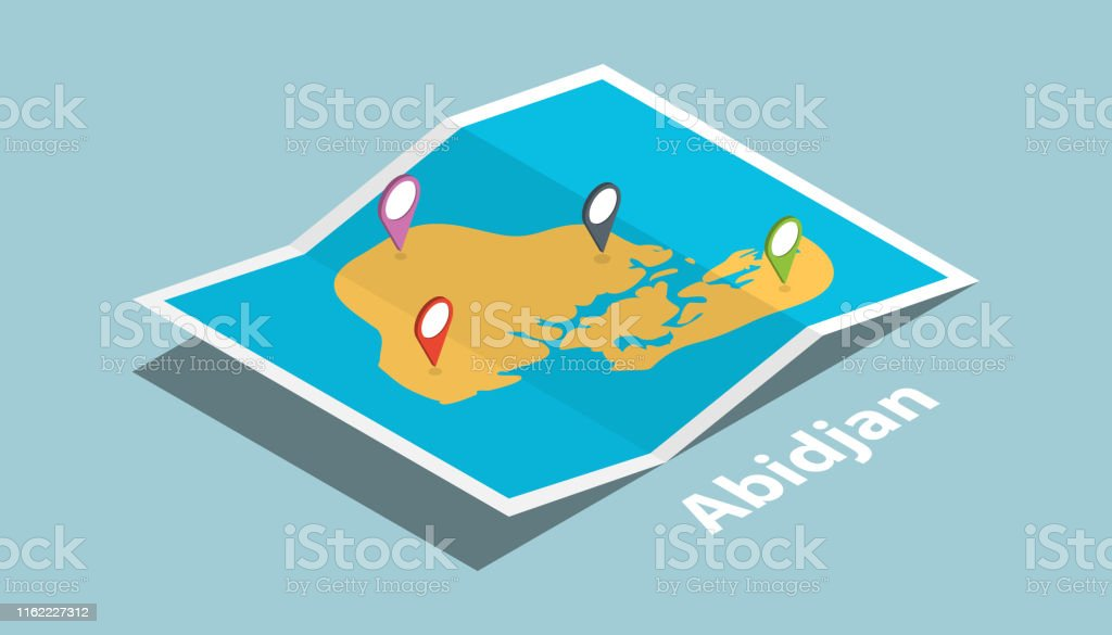 abidjan explore maps with isometric style and pin location tag on top...