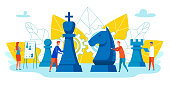 Ability to Motivate Employees Vector Cartoon. Men Move Chess Pieces. Woman Analyzes Chess Game. Team Metaphor Meeting Professionals Brainstorming. Vector Illustration on White Background.