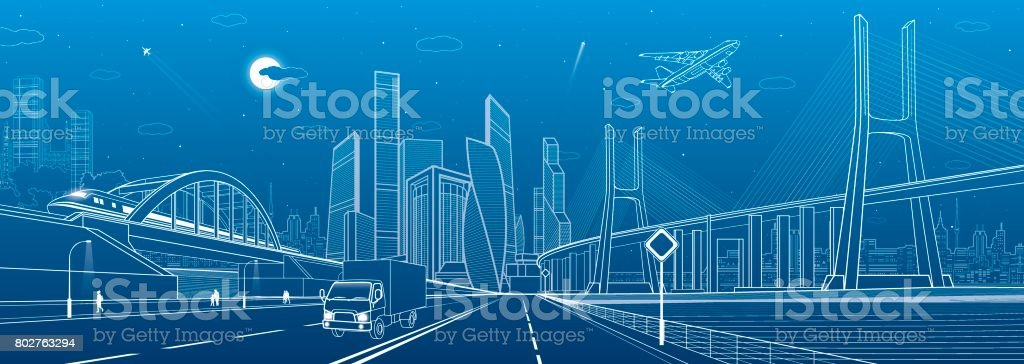 Сable-stayed bridge. Wide highway. Road overpass. Urban infrastructure, modern city on background, industrial architecture. People walking. Truck rides. White lines, night scene, vector design art vector art illustration