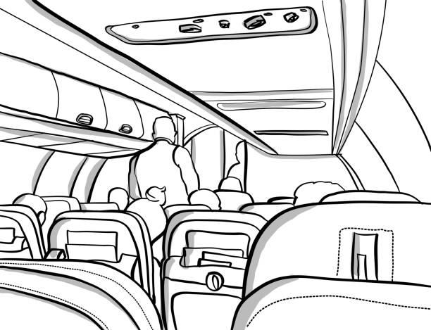 uçak tatil gemiye - airplane seat stock illustrations
